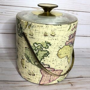 Vintage Map Ice Bucket Brass hardware